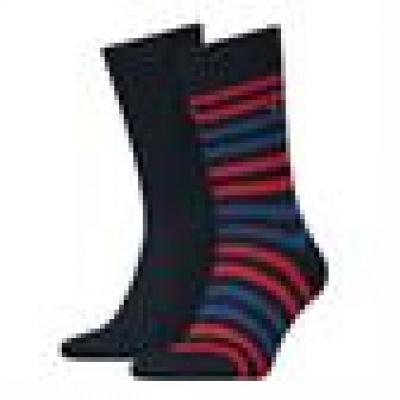 Foto van Tommy Hilfiger 2 pack heren sokken 472001001 085 Duo Strip TOMMY ORIGINAL