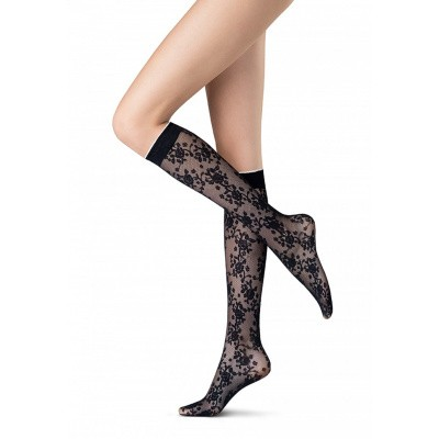 Foto van Oroblu kneehigh 20 denier Flower Nicety VOBC65871 BLACK