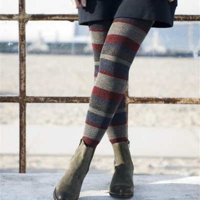 Foto van Bonnie Doon Cotton Sparkling Stripes Tights BN851919 mediumgrey/navy
