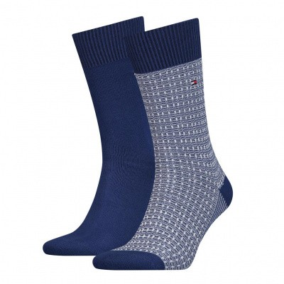 Foto van Tommy Hilfiger TH MEN SOCK 2P STRUCTURE KNIT BLUE DEPTHS