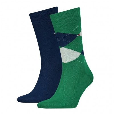 Foto van Tommy Hilfiger 2 pack heren sokken 391156 014 green/white