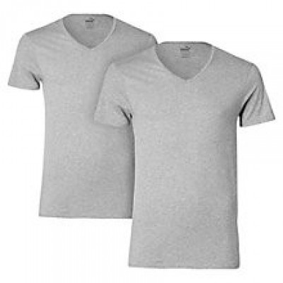 Foto van Puma 2 pack V neck t-shirts 562002001 758 MIDDLE GREY MELANGE