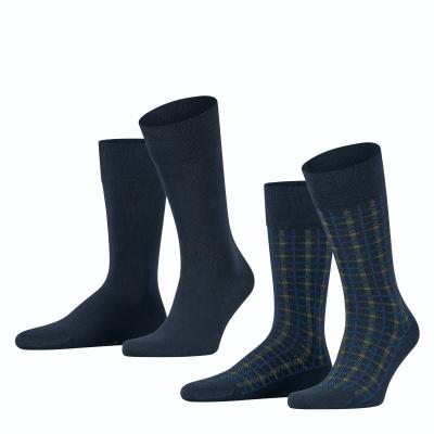 Foto van Esprit Multi Check 2-Pack Herren Socken MARINE