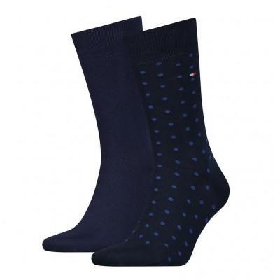 Foto van Tommy Hilfiger 2 pack heren sokken DOTTED 382012001 322 navy
