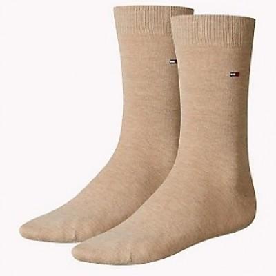 Foto van Tommy Hilfiger 2 pack heren sokken 371111 369 light beige melange