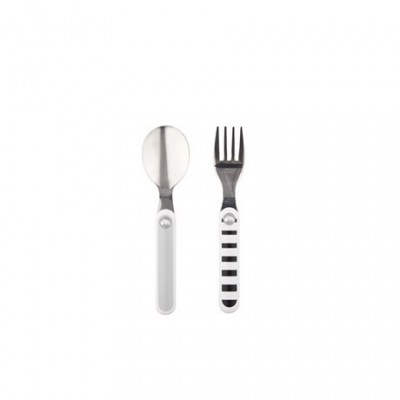 Done By Deer Contour Spoon&Fork Set Contour Grey