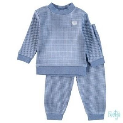 Feetje Pyjama Wafel Blauw melange