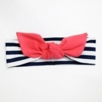 UL&KA | Trendy haarband | Blauw/Wit | Rode Strik