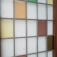 Afbeelding van Binnendeur hardhout met glas & lood gekleurd