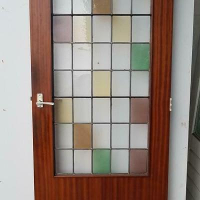 Foto van Binnendeur Hardhout met glas & lood gekleurd