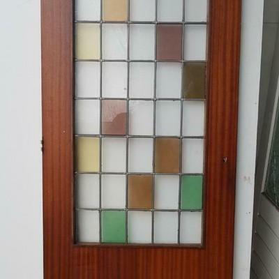 Binnendeur hardhout met glas & lood gekleurd