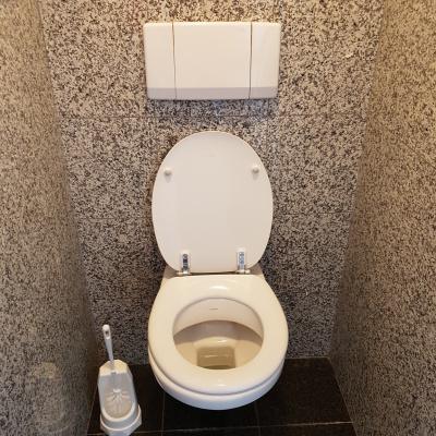 Foto van Toilet met inbouw reservior.