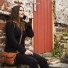 Image of Leather Shoulder Bag Cognac Laura