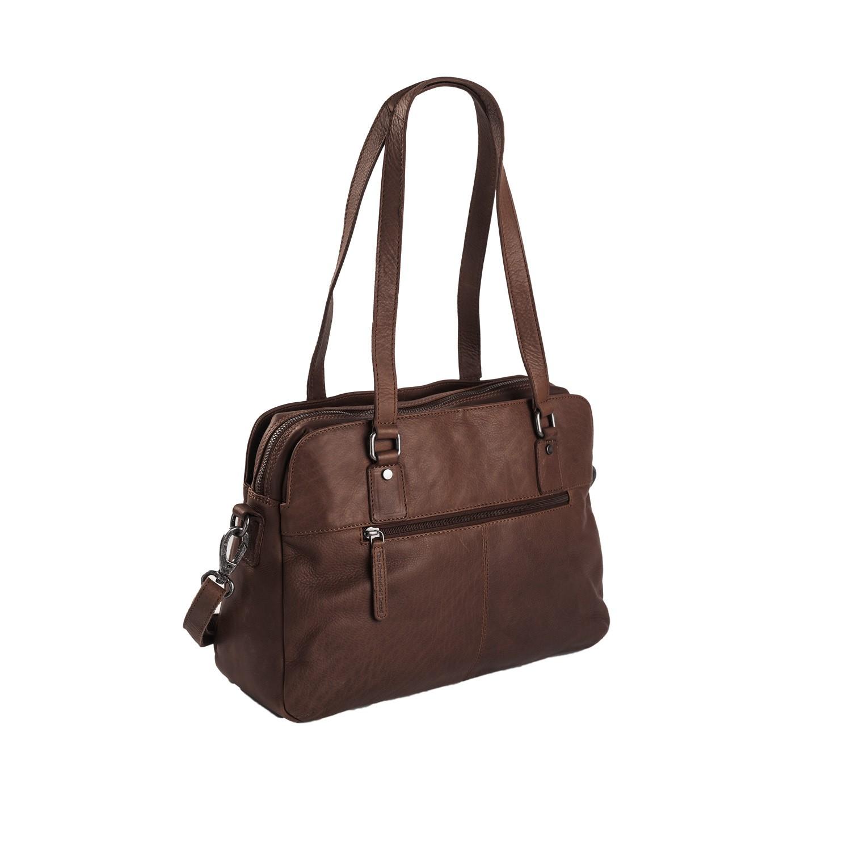 Image Of Leather Shoulder Bag Brown Barcelona