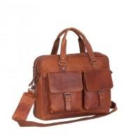 Leather Laptop Bag Cognac George Cognac