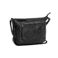 Leather Shoulder Bag Anthracite Black Label Cali Anthracite