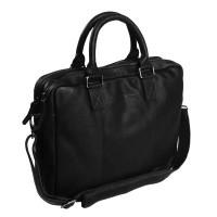 Leather Laptopbag Black Floris Black
