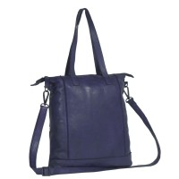 Leather Shopper Bag Navy Black Label Lyra Navy