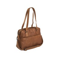 Leather Shoulder Bag Cognac Barcelona Cognac