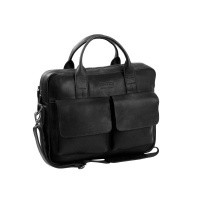 Leather Laptop Bag T8 Black Thomas Hayo Black