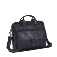 Leather Laptop Bag Antraciet Black Label Steve Anthracite