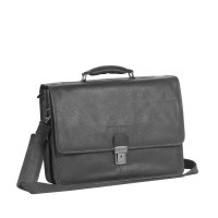 Leather Laptopbag Black Shay Black