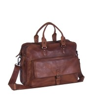Laptoptasche Leder Cognac Schwarz Label Johnny Cognac