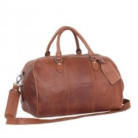 Leather Weekend Bag Cognac Liam Cognac