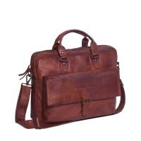 Leather Laptop Bag Cognac Black Label Steve Cognac