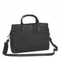 Leather Laptop Bag Black Damian Black
