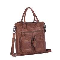 Leather Shopper Anthracite Olivia Cognac