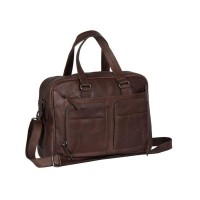 Leather Laptop Bag Brown Samual Brown
