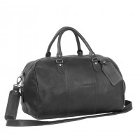 Leather Weekend Bag Black Liam Black