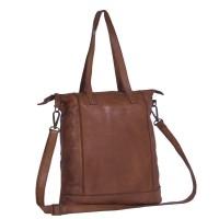 Leather Shopper Bag Cognac Black Label Lyra Cognac