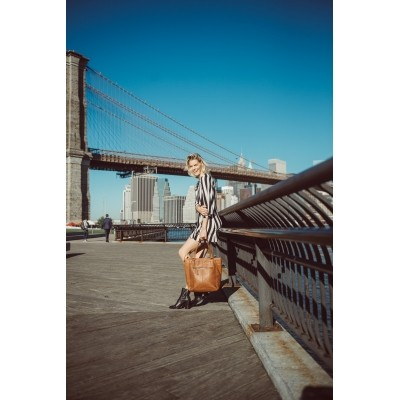 Foto van Leren Shopper Cognac Jade