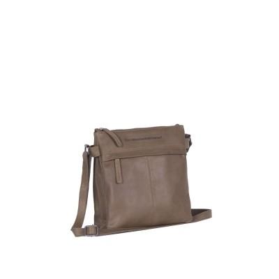 Leather Shoulder Bag Taupe Ava