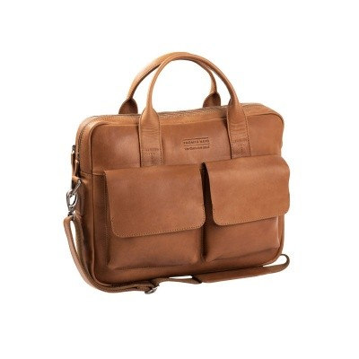 Leather Laptop Bag T8 Cognac Thomas Hayo
