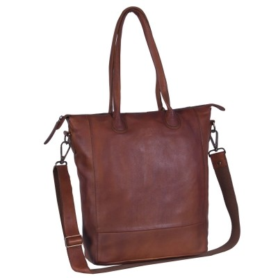 Leder Shopper Black Label Cognac Lily