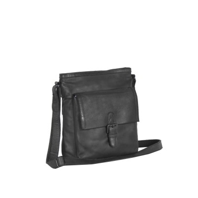 Leather Shoulder Bag Black Label Anthracite Sasha