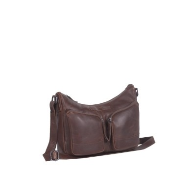 Leather Shoulder Bag Brown Aubrey