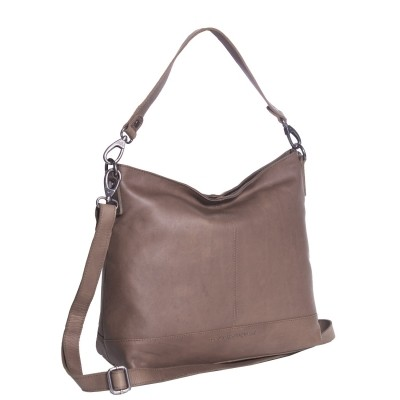 Leather Shoulder Bag Taupe Amelia