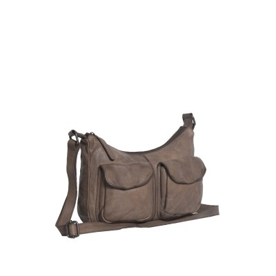 Leather Shoulder Bag Taupe Aria