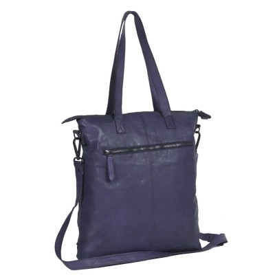 Foto von Leder Shopper Navy Black Label Lyra