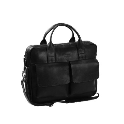 Leather Laptop Bag T8 Black Thomas Hayo
