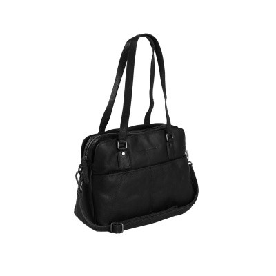Leather Shoulder Bag Black Barcelona