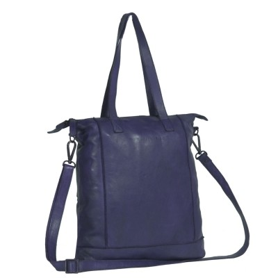 Leren Shopper Navy Black Label Lyra