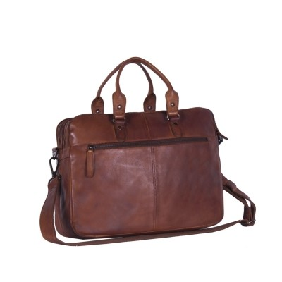 Photo of Leather Laptop Bag Cognac Black Label Johnny
