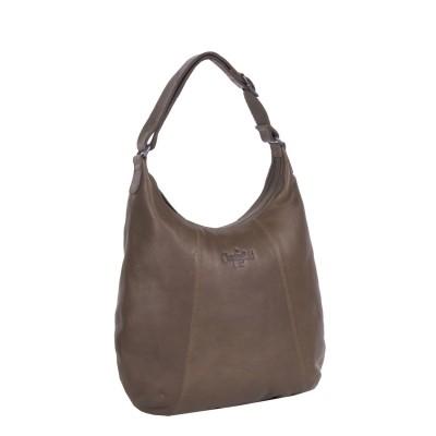 Leather Shoulder Bag Taupe Floor