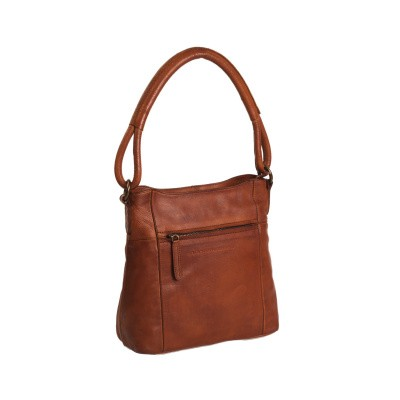 Photo of Leather Shoulder Bag Cognac Black Label Bella