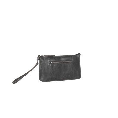 Leder Clutch Medium Schwarz Verena